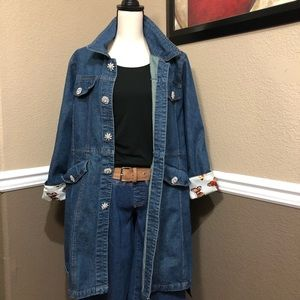 Berek Denim Jacket Long w/ Rhinestone Snap Button